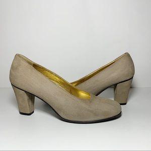 Anne Klein Couture Tan Suede Round Toe Pumps